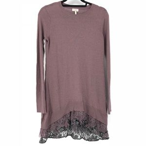 Logo By Lori Goldstein XS Lace Trim Purple Sweater